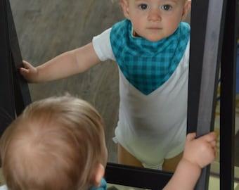 Teal Plaid Bandana Bib - Baby Toddler Drool Bib