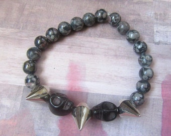 Black Double Skull Beaded Stretch Bracelet with Spikes and Gray Marble Beads