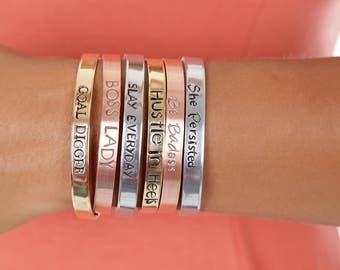 Girl Boss Jewelry   Feminist Mantra Bangle   GOAL DIGGER Cuff   Boss Lady Custom Hand Stamped Cuffs   Engraved Cuffs Expressions Bracelets