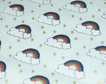 GOLD FOIL RAINBOW rico design wide 100% cotton rainbow cotton fabric