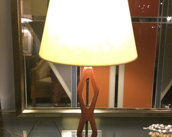Mid century Teak, Marblr and Silver Lamp