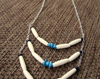 Beaded Tribal Necklace - Native American Breastplate Necklace, Turquoise and Bone - Native Warrior
