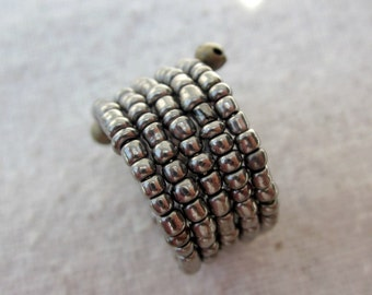 Memory Wire Ring: Beaded Adjustable Dark Silver Ring, Pixel