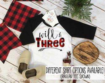 Third Birthday Shirt, Lumberjack Birthday, 3rd Birthday shirt, Buffalo Plaid Party, Lumberjack Party, WILD THREE PLAID, Wild Birthday shirt
