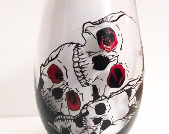 Skull hand painted stemless wine glass/tumbler/candle holder