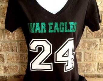 Custom Football Shirt- Mascot Name and Number- Front only, Football Girlfriend shirt - Football Mom shirt