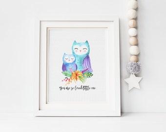 Digital nursery print - you are so loved - watercolour owl print - digital download