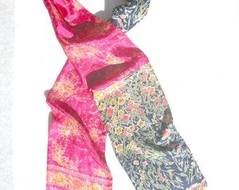 Patchwork Scarf, Upcycled, Pieced Scarf, Sari Scarf, Silk Patchwork, Ethnic Scarf, Repurposed, Boho Chic, Dressy, Luxury, Recycled Silk