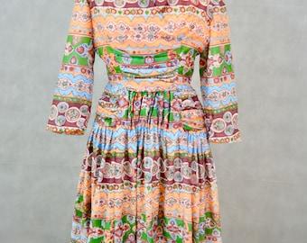 Vintage Dress | 1950s Moroccan Print Cotton Dress | Vintage Novelty Print Dress by Feminette Models
