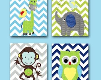 Elephant Nursery Baby Boy Nursery Art Print Children Wall Art Baby Room Decor Print Monkey Nursery Owl Nursery Giraffe Nursery set of 4