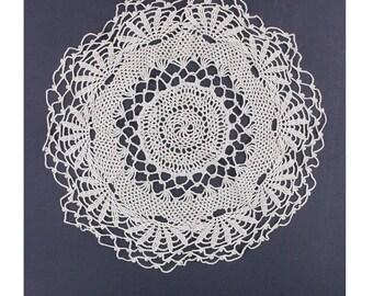 50's Crochet Doily, Small Round Mat, Ecru Tan Vintage Linens