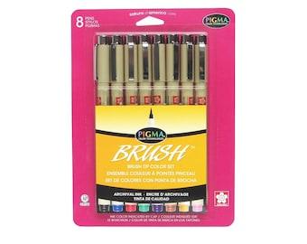Sakura Brush Pen Marker Set, Pigma Micron Ink; Book Coloring, Bible Journaling; Sakura 8 Brush Pens; Anime, Manga, Art, Drawing