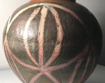 Round Vintage Abstract Ceramic Vase Vessel Planter Retro Mid Century Modern USA