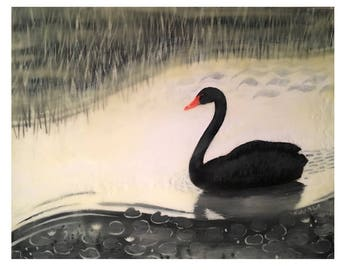 "Black Swan, original encaustic mixed media painting, painted on a 11""x 14"" wooden cradle panel"