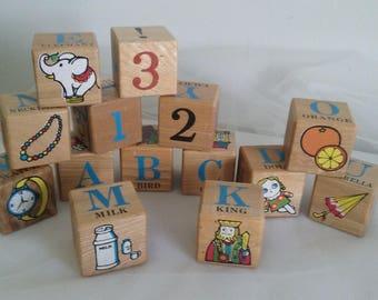 Vintage Pre School ABC Beginners Blocks 1950's in Original Box//Nichigan's Toy ABC Blocks//Alphabet and Numbers Blocks//Wooden ABC Blocks