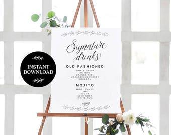 Signature Drink Sign INSTANT DOWNLOAD Editable PDF, Signature Drinks Printable, Wedding Reception Sign, Wedding Bar Sign - Amber