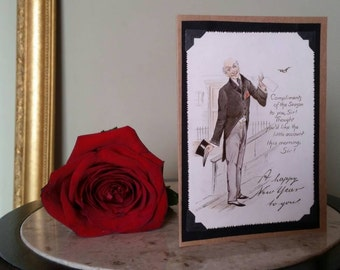 Authentic Victorian New Years Greeting Card, Hand Made