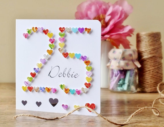 25th birthday card handmade personalised personalized age like this item bookmarktalkfo Choice Image