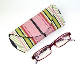 Magnetic - Eyeglass or Sunglass Case - Pink and Green - Striped