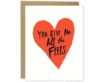 All The Feels Love Card, Cheeky Love, Anniversary Card For Husband, Boyfriend Love Card, Girlfriend, Wife, Funny Love Card For Him, For Her