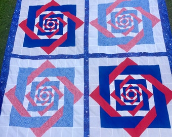 Fourth of July Quilt / Stars / Patriotic / Red / White / Blue / Independence Day / USA