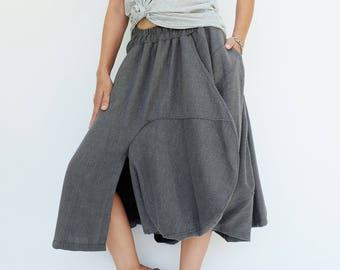 NO.221 Gray Viscose Asymmetric Midi Skirtpants, Avant Garde Skirt