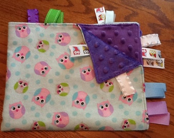 Ribbon Blankie ....Cute Owls with cut and heat sealed ribbons