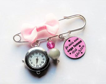 Brooch watch with nurse with a wise woman who rocks pink/gray/silver gift bow