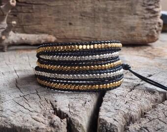 Mix Silver Brass Cube Leather Wrap Beaded Bracelet