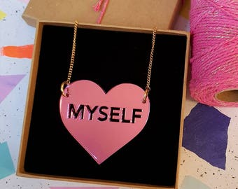 I Love Myself laser-cut pink mirrored necklace