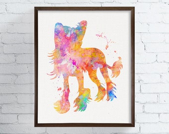Chinese Crested Dog Art Print, Watercolor Chinese Crested Dog, Watercolor Art, Chinese Crested Dog Painting, Chinese Crested Illustration