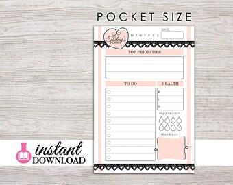Printable Pocket Inserts - Daily Planner - Filofax Pocket - Kikki K Small - LV PM - Design: Mademoiselle
