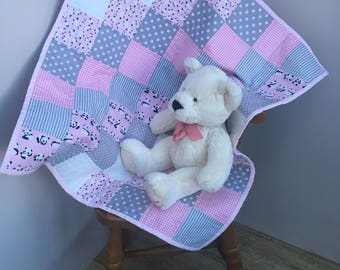Baby Quilt, Patchwork Quilt, Girls Quilt, Cot Quilt, Car Seat Quilt, Stroller Quilt, Quilts for Sale, Baby Shower Gift, Baby Room