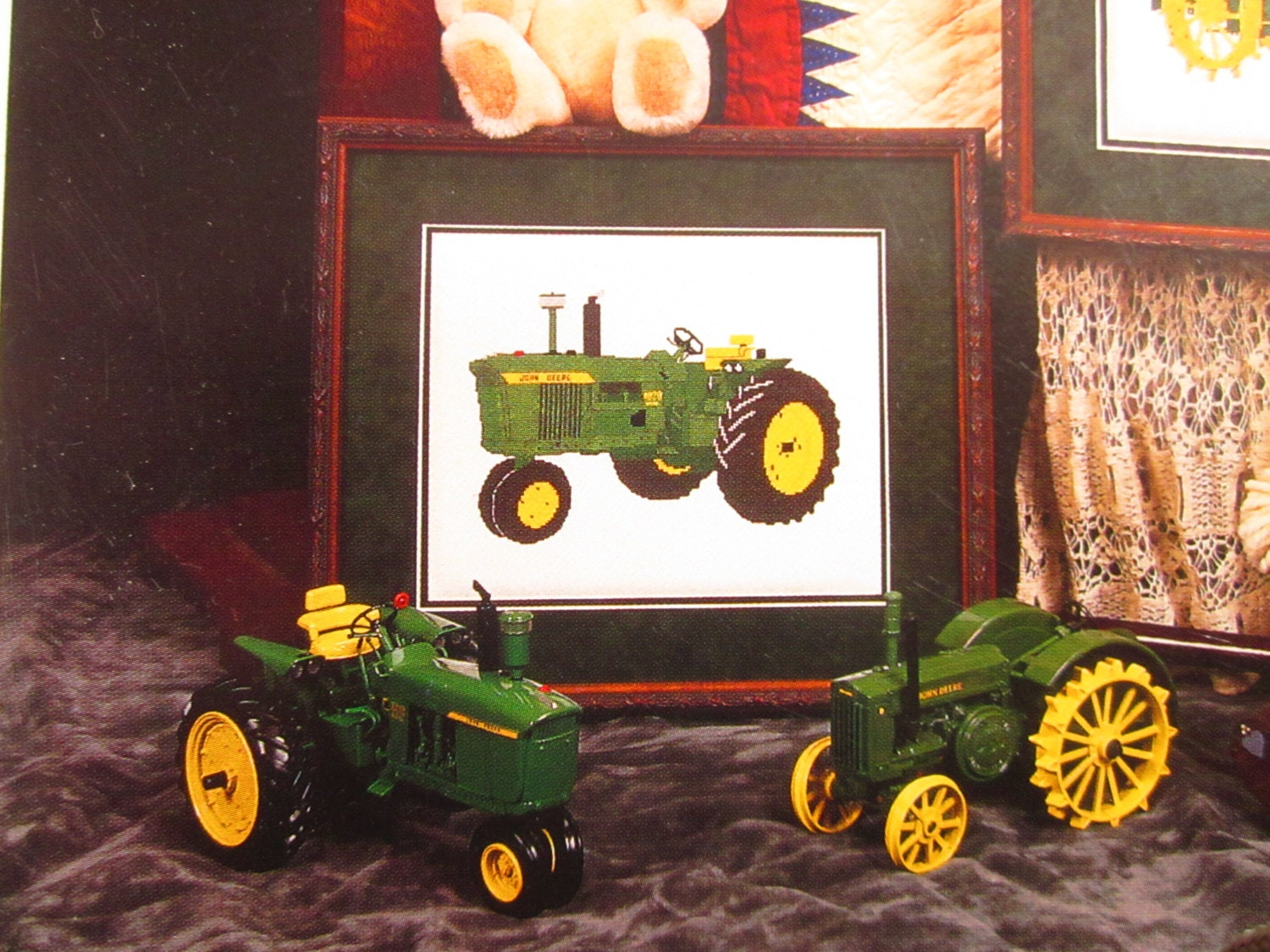John deere tractor needle work graphic for cross stitch or plastic free shipping jeuxipadfo Images