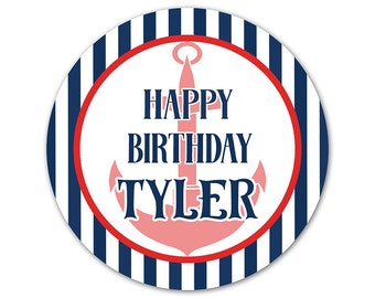 Personalized Birthday Stickers - Nautical Birthday Labels - Custom Birthday Stickers - Birthday Party Labels - Anchor Stickers - Birthday