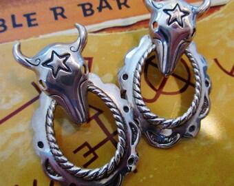 Sterling Silver Western Hoop with Steer Head/Skull Pierced Earrings