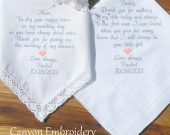 Embroidered Wedding Handkerchiefs Wedding Gift  Set of 2 Mom and Dad Wedding Gifts Your Own Sayings Wedding Gifts by Canyon Embroidery