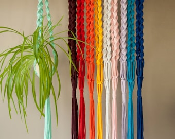 Home decor Kids room, macrame plant hangers Colorful plant holders Spiral knotted, gardening gift