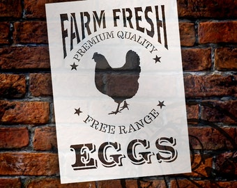 Farm Fresh Eggs, Chicken Stencil by StudioR12 | Reusable Mylar Template -Paint - Wood Signs, Wall Decor, Modern Farmhouse - SELECT SIZE