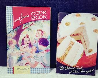 Antique 1930's Cookbooks, Aunt Jane's Cookbook, Calumet Book of Oven Triumphs