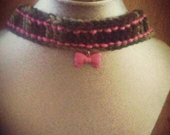 Hot pink cameo crocheted choker