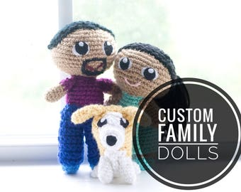 Custom Family Dolls - Personalized Dolls - Crochet Family Portrait - Family Portrait Dolls
