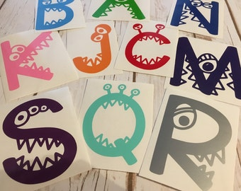 Monster Letter Decal - Single Letter Decal - Letter Monogram Decal -single letter -  vinyl decal - tumbler decal - YETI decal