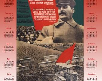 1932 Stalin Soviet propaganda Stalinism poster + Calendar 2018
