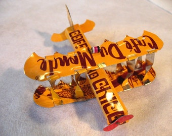 Airplane ornament, Christmas, Coffee Can, handmade recycled metal