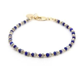 Lapis Lazuli & Labradorite bracelet, gemstone bracelet.