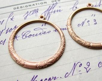 Etched floral hoop, antiqued pink brass, 34mm (2 hoops), hoop earring drops, brass earring hoops, rose gold brass, Boho charms
