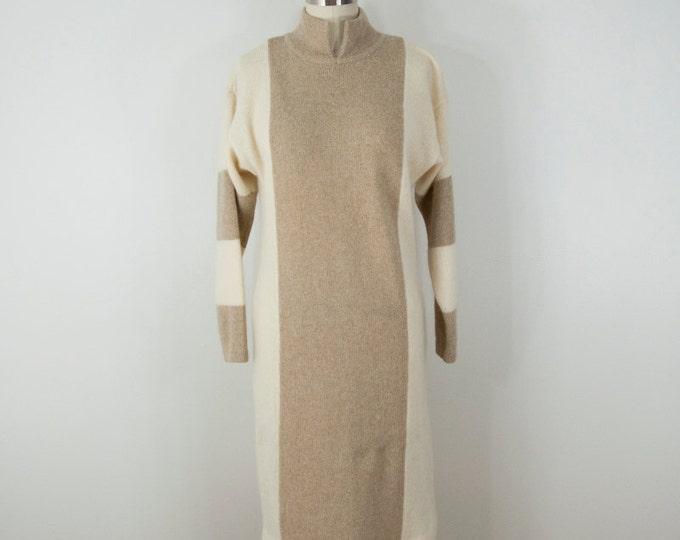 80s Vintage Angora Stripe Slouchy Sweater Dress (S, M)