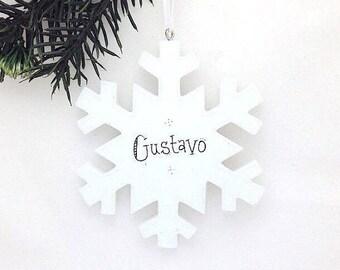 Snowflake Personalized Christmas Ornament / Elegant Snowflake / Gift under 20