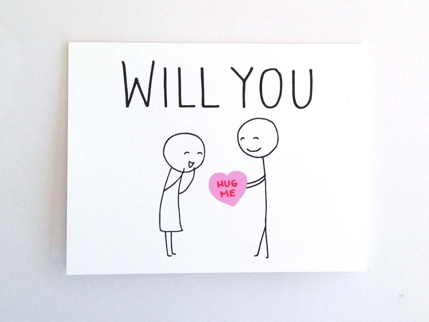 Will You Hug Me  Funny Valentine Card for Her  Quirky Love